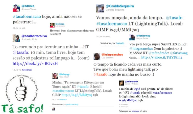 Diversas mensagens de membros do grupo incentivando uns aos outros no Twitter